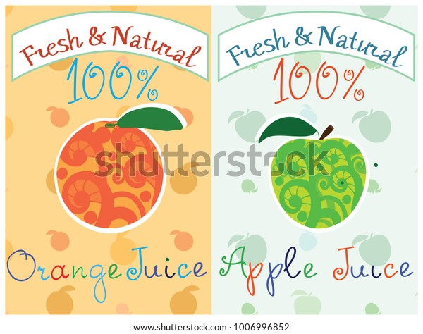 Orange Juice Apple Juice Labels Vector Stock Vector (Royalty