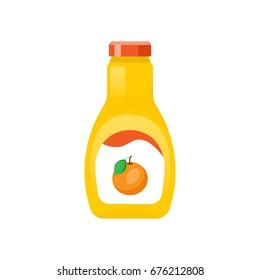 Orange juice bottle flat icon.