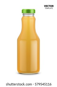 Orange juice bottle glass vector isolated on white background. Mock up orange juice bottle glass good for presentation of of juice labels. Fruit beverage packaging.