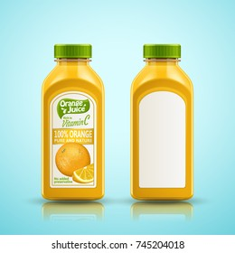 Orange juice bottle set, package design with label isolated on blue background in 3d illustration