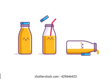 Orange juice in bottle. Vector illustration. Character design