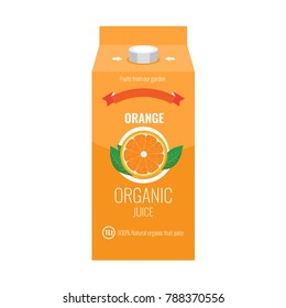 Orange juice box package with solid and flat color design style.