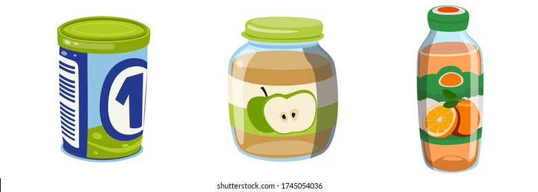 Orange Juice Cartoon Small Glass Bottle with Natural and Healthy Drink. Milk Formula Mix. Apple Jam, Jelly, Glass Jar. Organic Baby Food Puree. Three Mock Up Template Ready For Your Design.