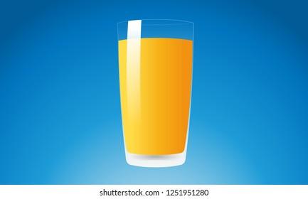Orange Juice Drink in Glass - isolated design vector illustration