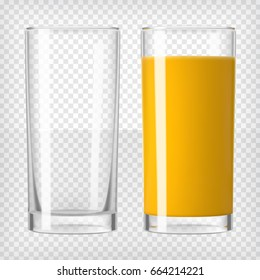 Orange juice and an empty glass. Fruit organic drink. Healthy diet. Clean eating. Tall glass with beverage. Transparent photo realistic vector illustration.