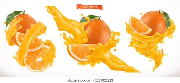 Orange juice. Fresh fruit 3d realistic vector icon
