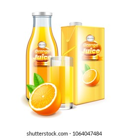 Orange juice in glass bottle and box packaging 3d realistic vector