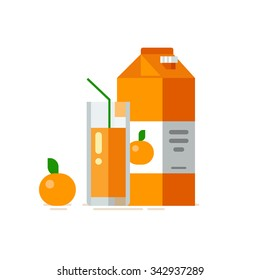 Orange juice in glass. Carton box. Vector illustration. Flat design style