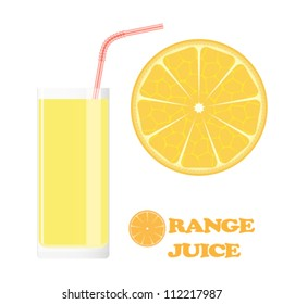 Orange juice in glass with drinking straws. Full glass of orange juice and slices of orange isolated on white.