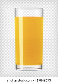 Orange juice glass. Fruit organic drink. Healthy diet and clean eating concept. Cleansing and detox. Vegan juicing. Tall glass with beverage. Transparent  photo realistic vector illustration.