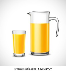 Orange juice in glass and jug design composition in realistic style on white background vector illustration
