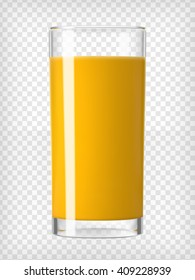 Orange juice in a glass. Organic tropical fruit drink. Healthy diet and clean eating concept. Cleansing and detox. Vegan juicing. Tall glass with beverage. Transparent  realistic vector illustration.