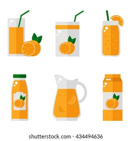 Orange juice isolated icons on white background. Orange juice bottle, glass, pack set. Flat style vector illustration.