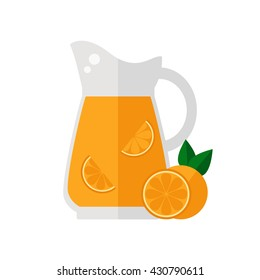 Orange juice jug isolated icon on white background. Healthy drink. Flat style vector illustration.