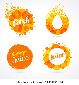 Orange juice label splash set design. Drops bubbly and lettering logo on white background. Mango, pineapple and papaya juice design, shape creative vector illustration
