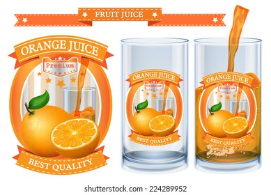 Orange juice Label vector visual, ideal for fruit juice. Can drawn with mesh tool. Fully adjustable & scalable. Vector illustration