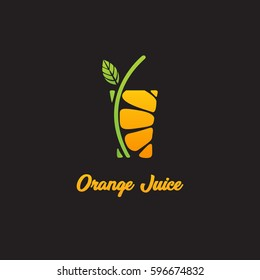 Orange juice logo on black background