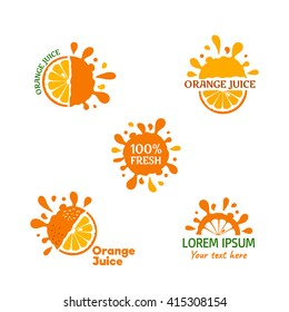 Orange juice logo set. Vector illustrations on white background.