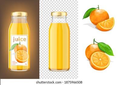 Orange juice mockup 3D bottles and oranges. Vector Illustration.