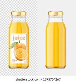 Orange juice mockup bottles. Vector Illustration.