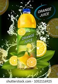 Orange juice package design, juice bottle with label and fresh orange isolated on yellow-reddish background