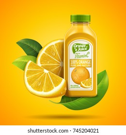 Orange juice package design with label and fresh fruit isolated on yellow-reddish background in 3d illustration