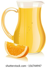 Orange juice in pitcher and orange slice. Vector illustration