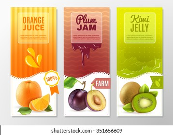 Orange juice plum jam and kiwi jelly 3 vertical colorful advertisement banners set abstract isolated vector illustration