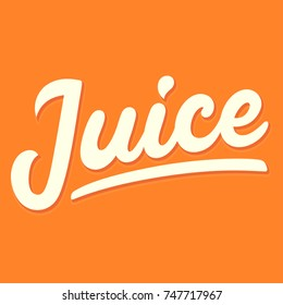 Orange juice, retro style handwritten lettering. Simple and modern vector logo, hand drawn text sign.