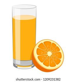 Orange juice and slice of orange