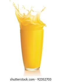 Orange juice splash on a white background. Vector. Mesh