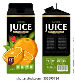 Orange juice template packaging design vector illustration. Layout of orange juice pack isolated on white background.