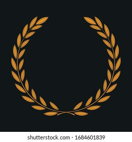orange laurel wreath icon, sports design - original illustration on black background, idea for your design