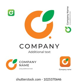 Orange with a Leaf Logo. Simple and Clean Modern Identity Brand and App Icon Symbol. Concept Set Template Vector