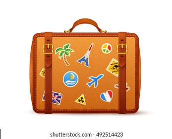 Orange leather vector suitcase with traveler's stickers isolated on white background