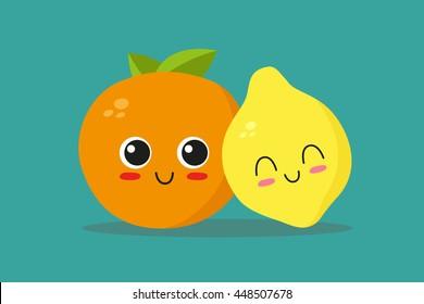 Orange and lemon falling in love. Vector illustration
