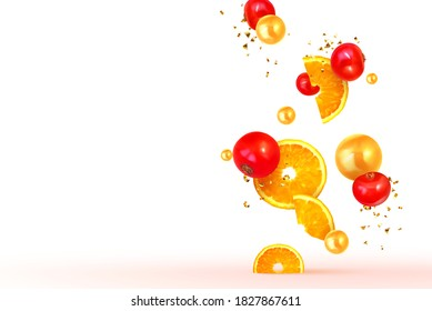 Orange and lemon fruit realistic design slices and halves. Background with citrus fruits and berries red cranberries, currants. Vector illustration