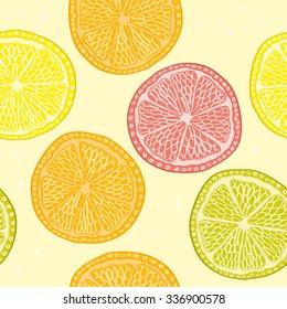 Orange, lemon, lime, grapefruit sliced vector seamless pattern background  design template illustration