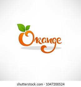 Orange lettering composition for your citrus juice logo, label, emblem