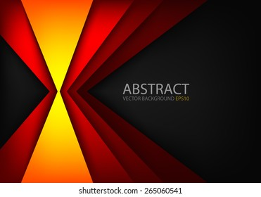Orange light angle hot tone color background and red line overlap layer paper on dark space for text and message modern artwork design
