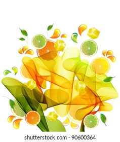 Orange and lime juice splash with abstract wave, vector