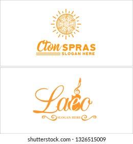 Orange line art ribbon sun guitar music image clip art combination mark logo design suitable for entertainment therapy treatment