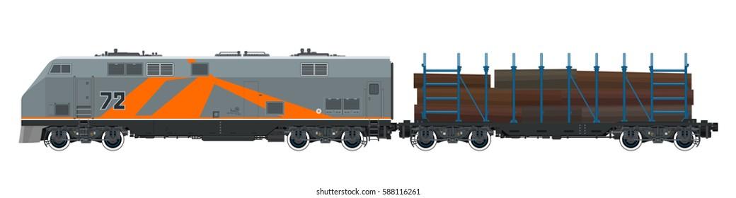Orange Locomotive with Railway Platform for Timber Transportation, Train, Railway and Cargo Transport, Vector Illustration