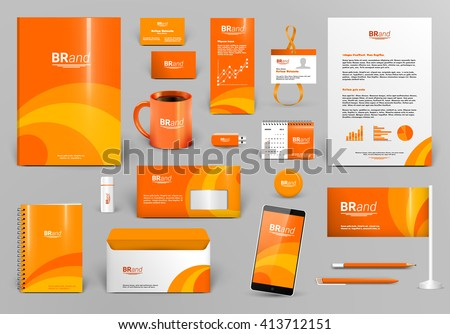 orange luxury branding design kit identity stock vector royalty free 413712151 shutterstock. Black Bedroom Furniture Sets. Home Design Ideas