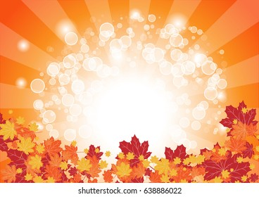 orange maple leaves and white light bubble vector background, autumn and sunlight concept, space for text or message design, card or wallpaper for christmas and new year day