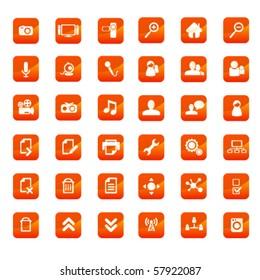 Orange media button set 1