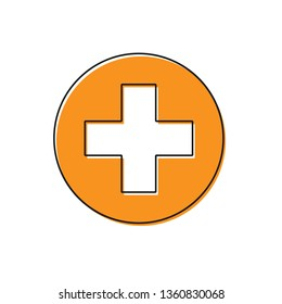 Orange Medical cross in circle icon isolated on white background. First aid medical symbol. Vector Illustration
