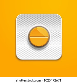 Orange medicine pill in Blister Pack on orange background , pharmaceutical antibiotics drugs vector. 3d pills. 3d pill in Blister Pack