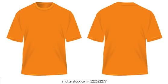 orange men's T-shirt isolated on white.