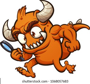 Orange monster searching with a magnifying glass. Vector clip art illustration with simple gradients. All in a single layer.